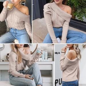 Pleteni pulover puf rukava