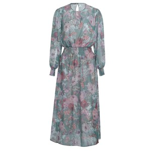 Midi cvjetna haljina dugih rukava s pasicom