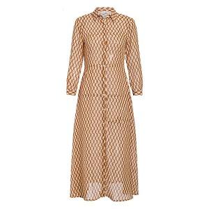 Vintage midi košulja haljina košnica uzorka