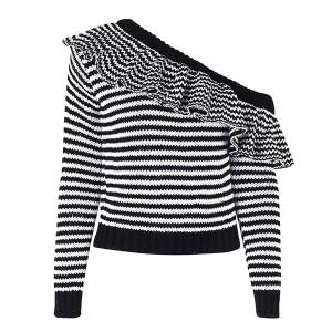 Prugasti pulover na volane