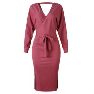 Rebrasta midi haljina preklopnog izgleda
