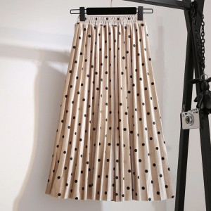 Midi plisirana točkasta suknja od baršuna