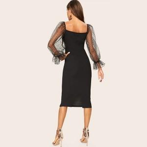 Midi haljina olovka kroja puf rukava