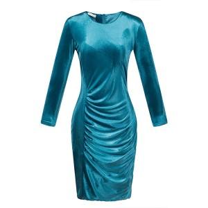 Baršunasta haljina s naborom