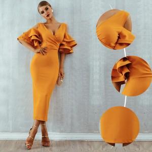 Luksuzna midi haljina na volane *premium kvaliteta* 7 boja