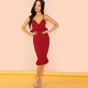 Midi haljina sirena kroja na volane 2 boje