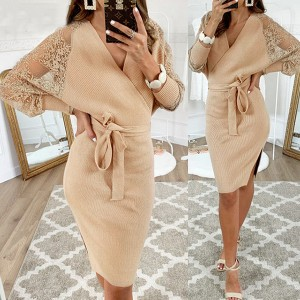 Rebrasta haljina čipkanih rukava